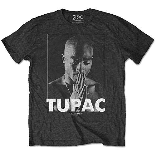 Rockoff Trade Herren Tupac Praying T-Shirt, Grau (Charcoal Charcoal), Medium