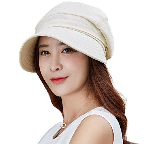 SIGGI SIGGI Damen Faltbarer Sonnenhut mit Visor UPF 50+ beige Baumwolle