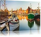 Hafen in der Dämmerung Format: 60x40 cm auf Leinwand, XXL riesige Bilder fertig gerahmt mit Keilrahmen, Kunstdruck auf Wandbild mit Rahmen, günstiger als Gemälde oder Ölbild, kein Poster oder Plakat