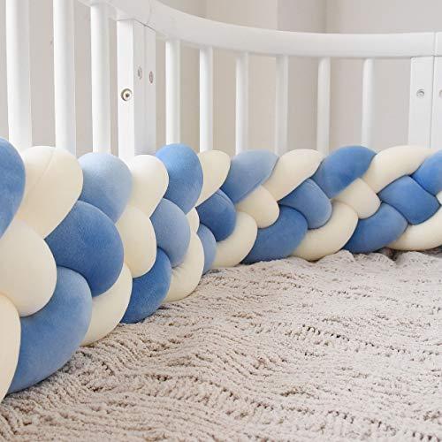 MAICHIHUOY 220cm Bettumrandung, Baby Krippe Stoßstange Krippe Baby Nestchenschlange 4 Weben Bettumrandung für Babybett Kinderbett Bettausstattung (Blau+Blau+Weiß+Weiß) - Kinderbett Stoßstange Bettwäsche Weiße