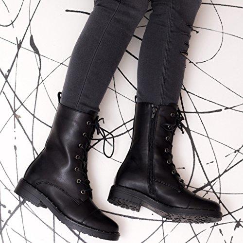 SPYLOVEBUY DAHLIA Femmes Lacet Plates Bottes Moto Noir -