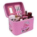 Beauty Case Kosmetiktasche Reise Kulturtasche Kulturbeutel Make Up Bag Kosmetikkoffer 17x15x23cm Groß (Flamingo rosa mit Punkt)