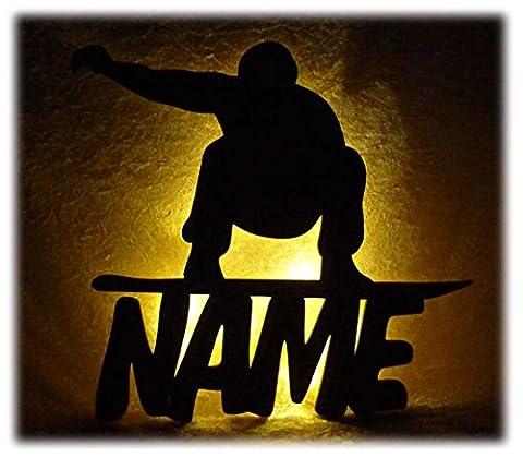 Schlummerlicht24 Led Snowboard Zimmer Deko mit Name nach Wunsch, ideales Geschenk für Wintersportler und
