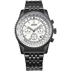 Jedir Men Stainless Steel Strap Quartz Wrist Watch with Calendar