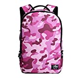 GoGou -Vintage Camouflage Pattern Travel Backpack School Bags (Pink)