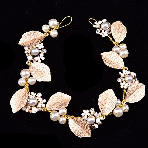 Oshide Haarschmuck Hochzeit Vintage Gold Perlen Haarband Mit Blatt Ohrring Schmuck Set - 3