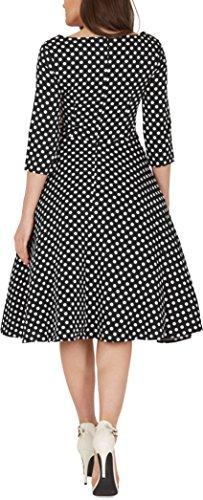 'Iris' 50's Polka-Dots Kleid mit besetztem Ausschnitt - 3