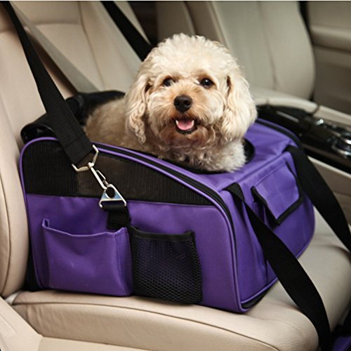 Petcomer Reisen Auto Transportbox für Katze Hund Sicherheit Tragbare Tasche Tote Öffnung oben Gepolsterte Mesh Pet Carrier, zusammenklappbar (S-38*32*24cm, grau) -