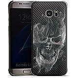 Samsung Galaxy S7 Edge Housse Étui Protection Coque Tête de mort Carbone Fumée