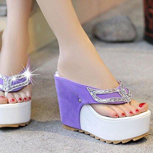 Pantofole Donna & Flip-Flops Piattaforma estiva Casual Wedge Heel, Nero / Viola Purple