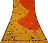 Vintage Crepe Seide Gelb Saree Gestickte Kleid Machen Stoff