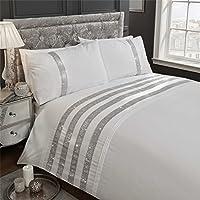 Diamante bandas de lentejuelas juego de funda de color blanco mezcla de algodón Super King Size (Plain White–Sábana bajera 180x 200cm + 25) 4piezas Juego de cama