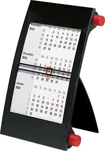 Rido Tischkalender 2019, 3-Monatskalender Drehknopf rot: Modell 38 000