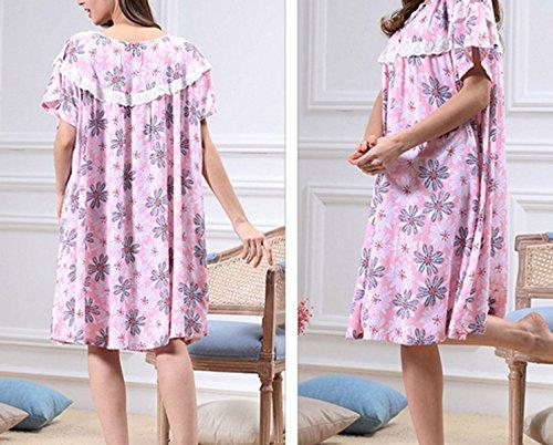 Mme été Autour Du Cou Décontracté Longues Pyjamas Chemises De Nuit En Vrac pink