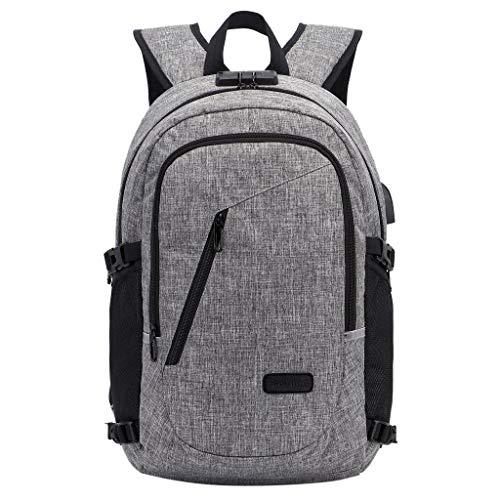 Finebo Rucksack Schultermode Computer Anti-Diebstahl-Reiserucksack Mit USB Ladeanschluss Männer und Frauen Reisen diebstahlsichere Schultasche Paket (Grau) -