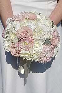 Elfenbeinfarben & Dusky Pink Rose & Hahnenfuß Oversize Bridal Bouquet