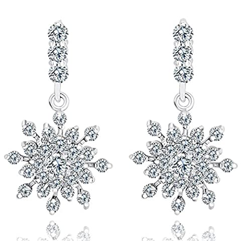 Yazilind Dazzling Rhodium Plated Clear Cut Flawless Cubic Zirconia Snowflake Dangle Claw Earrings