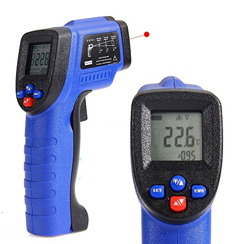 COLEMETER Infrarot Thermometer - 50 bis + 420 °C IR Thermometer Pyrometer Laser Thermometer Infrarot-Messung Laser Temperaturmesser Temperaturmessgerät Mit LCD Display Laserpointer