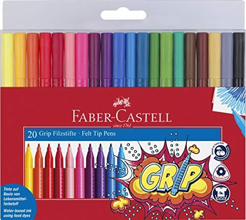 Faber-Castell - Estuche con 20 rotuladores grip de punta fina con forma...