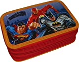 Astuccio Scuola 3 Zip Originale - Batman, Superman E Flash - Justice League Of America - 3D - Completo di 45 Pezzi