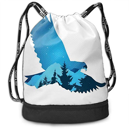 DPASIi Drawstring Backpacks Daypack Bags,Bird Silhouette with Mountains and Coniferous Trees On A Clear Starry Night,Adjustable String Closure -