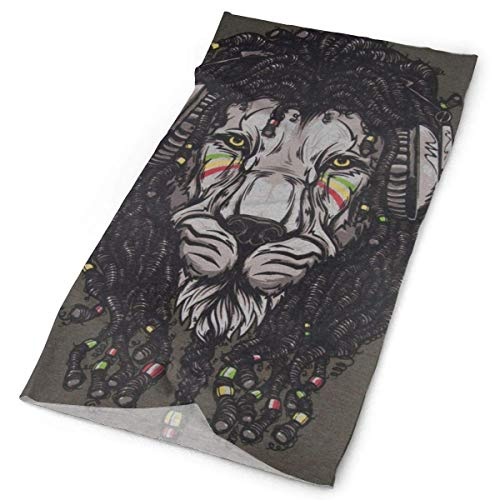 headscarves sky Music Lion Face Rasta Color Original Headband with Multi-Function Sports and Leisure Headwear UV Protection Sports Neck, Sweat-Absorbent Microfiber Running, Yoga, Hiking -