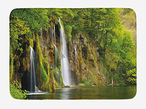 JIEKEIO Nature Bath Mat, Majestic Waterfall Flowing Down to River in National Park Fresh Landscape, Plush Bathroom Decor Mat with Non Slip Backing, 23.6 W X 15.7 W Inches, Green Brown White Galaxy Nylon Parka