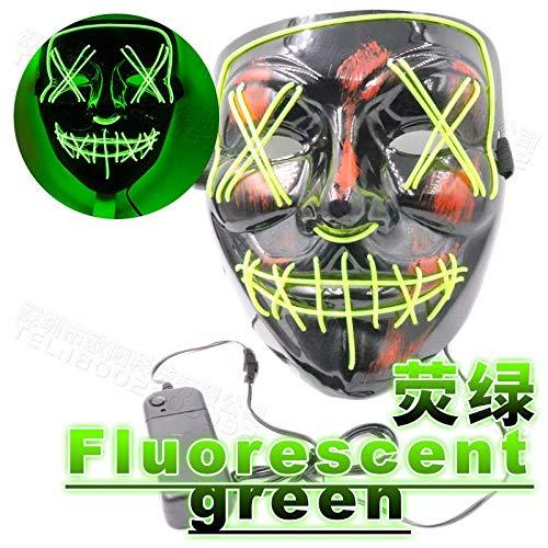 XJO Leuchtmaske Halloween Horror Thriller LED Flash Geist Dance Ostern Party Maske Fluoreszierend Grün mit Blutnaht Mundgabel Maske