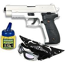 Pack Pistola airsoft Cyma metálica. Calibre 6mm. Potencia 0,5 Julios + Gafas antivaho + Biberon 1000 bolas