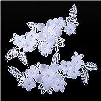shevalues floreale con ricami in pizzo applique Motif per abito da sposa velo da sposa abiti da sposa fai da te taglia 4 White - Velo Abito