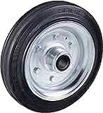 Ruota con anello in gomma piena nera Diametro mm.80x25 Portata Kg.50 con disco in ferro mozzo con cuscinetto a rullini Ruote per carrelli a traslazione manuale per carichi medi. Settore industriale (80)