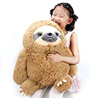 Winsterch Cuddly Stuffed Animal Toy Plush Sloth Gift Large Baby Doll Soft Plush Toy Pillow for Boys and Girls (Brown, 19.7 inches)