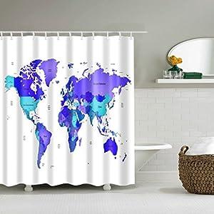WTL Cortinas de baño Cortinas de ducha Mapa del mundo creativo Patrón Impermeable Secado rápido Materiales de protección del medio ambiente Gancho de metal Agujero colgante