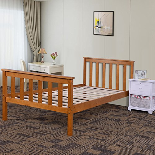 Costway Single Wooden Bed Frame In White 3ft (Honey)