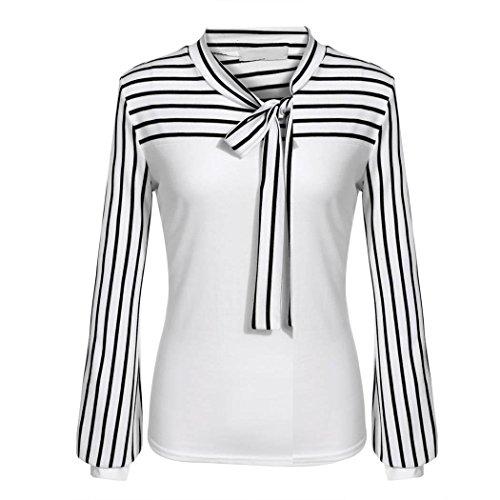 Damen T-Shirt Langarm Streifen ,Sondereu Polo Neck Baumwolle SlimFit Business OL Casual Tops Schluppenbluse Oberteil Hemd Frühling Herbst Weiß XL