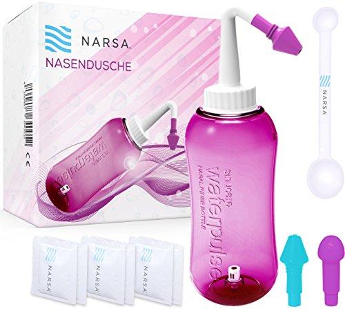 NARSA Nasendusche + Dosierlöffel + 3 Aufsätze / Schnupfen / Allergie / Trockener Nase ( Aufsätze für Kinder + Erwachsene) pink Nasenspülkanne Nasenreinigung / Nasenreiniger Nasenspül-set Nasenspülung