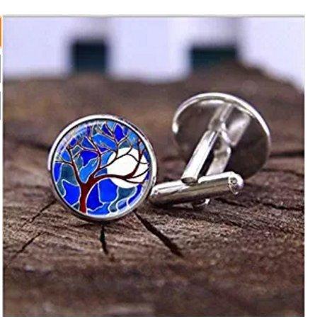 Handgefertigt Herren Hemd Manschette Blau, Glas Baum Custom Manschettenknöpfe, Party Geschenk