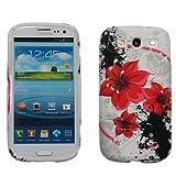 handy-point Rote Blumen Gummihülle Silikonhülle Gummi Silikon Schale Schutzschale Schutzhülle Hülle für Samsung Galaxy Core Plus Bunt