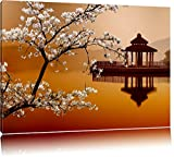 Cherry on with Japanese lake canvas, XXL huge Pictures completely framed with stretcher, Art print on wall picture with frame, cheaper than oil paintings and picture, no poster or poster size: 60x40 cm