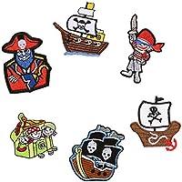 Parches de pirata para planchar o coser en ropa, chaqueta, mochila, bufanda, cojín, camiseta, 6 unidades