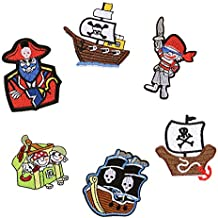 6pcs pirata Parches para planchar o coser parche bordado insignia para ropa vestido chaqueta Mochila bufanda cojín Floral camiseta