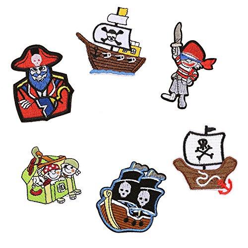 6pcs pirata Parches para planchar o coser parche bordado insignia...