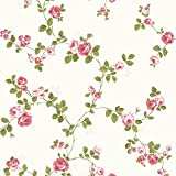 Tapete Pink/Grün/Cream - FD40169 - Heritage Blumen Rose Blüten