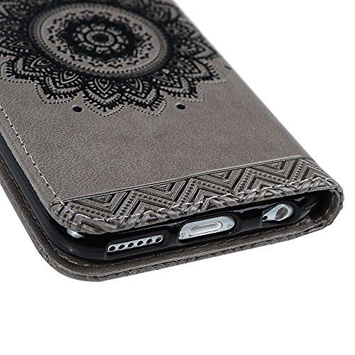 YOKIRIN iPhone 6 / iPhone 6S Coque de Protection - Phone Case Coque Arrière PU + TPU Edge Couverture Portefeuille Carte Fonction Stand avec Fermeture Magnétique de Totem - GRIS GRIS
