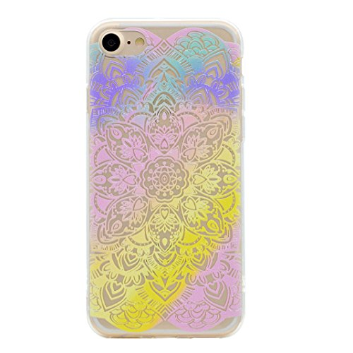 iPhone 6 Plus Bumper, iPhone 6s Plus Hülle Silikon, iPhone 6S Plus Hülle Silikon, Moon mood® Telefon Schale Gemalt Reliefs TPU Silikon Handyhülle Schutzhülle Case für Apple iPhone 6 Plus/6S Plus 5.5 Z Regenbogen