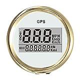 GOZAR 4 Tipos Auto Gauge Digital GPS Velocímetro 52 Mm Velocidad Odómetro Tabla De Velocidad - Oro + Blanco