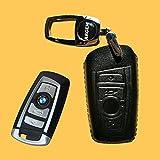 Echtes Leder Schlüssel Hülle für die BMW 3er E90-5er F10-7er F01 4-Tasten Fernbedienung in Schwarz Funkschlüssel 4-Key