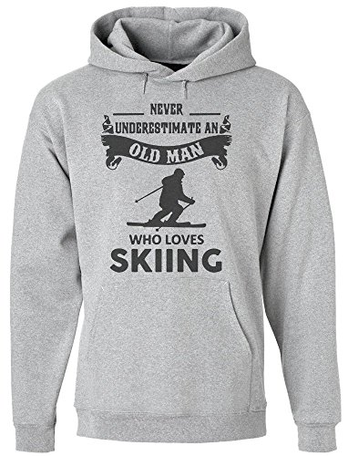 Never Underestimate An Old Man Who Loves Skiing Men's Hoodie Pullover Extra Large