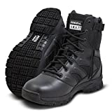 "Originial SWAT Men's Leather Force 8"" Black Tactical Side-Zip Boots UK-10"