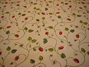 STRAWBERRY FAIR OILCLOTH, 100% cotton fabric, PVC coated OILCLOTH, Size 133cm x 220cm by Karina Home